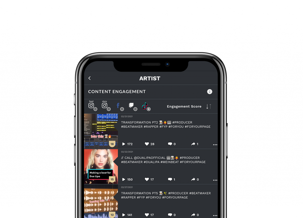 Content Engagement Screen TikTok